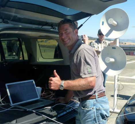 Cooper Lee & his WiFi Rail patented communication system - testing at Sonoma Race Track