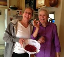 Claudia & Mom and Fresh Raspberries from Claudia's garden