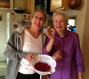 Claudia & Mom and Fresh Raspberries from Claudia's garden